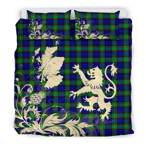 ScottishShopTartan Sempill Modern Bedding Set Scotland Lion - Thistle Map