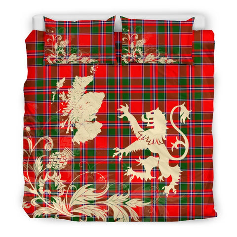 ScottishShopTartan Spens Modern Bedding Set Scotland Lion - Thistle Map