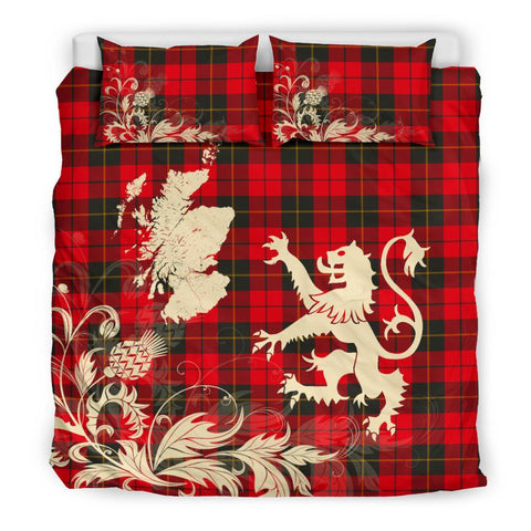 ScottishShopTartan Wallace Weathered Bedding Set Scotland Lion - Thistle Map