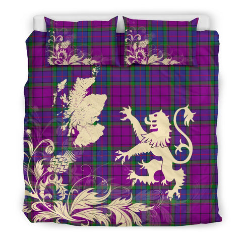 Image of ScottishShopTartan Wardlaw Modern Bedding Set Scotland Lion - Thistle Map