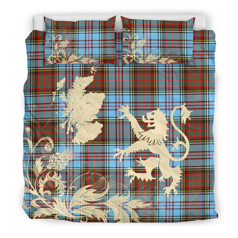 Image of Tartan Anderson Ancient Bedding Set Scotland Lion - Thistle Map