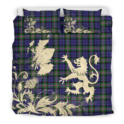 ScottishShopTartan Baird Modern Bedding Set Scotland Lion - Thistle Map
