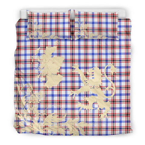 Image of ScottishShopTartan Boswell Modern Bedding Set Scotland Lion - Thistle Map