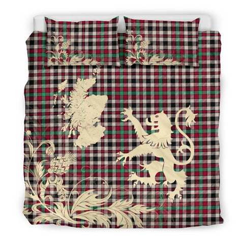 Image of Tartan Borthwick Dress Ancient Bedding Set Scotland Lion - Thistle Map