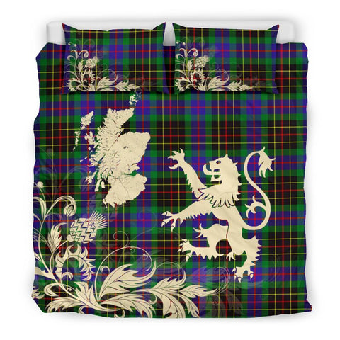 Image of ScottishShopTartan Brodie Hunting Modern Bedding Set Scotland Lion - Thistle Map