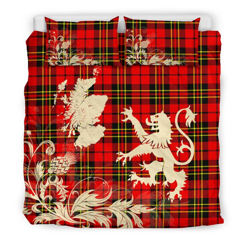Image of ScottishShopTartan Brodie Modern Bedding Set Scotland Lion - Thistle Map