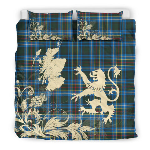 ScottishShopTartan Cockburn Modern Bedding Set Scotland Lion - Thistle Map
