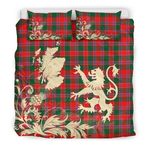 ScottishShopTartan Dalziel Modern Bedding Set Scotland Lion - Thistle Map