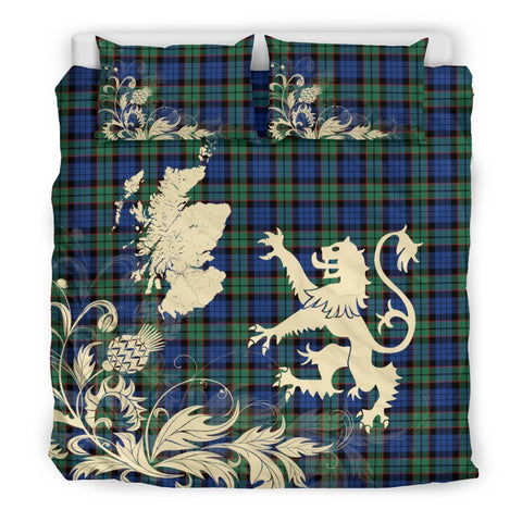 ScottishShopTartan Fletcher Ancient Bedding Set Scotland Lion - Thistle Map