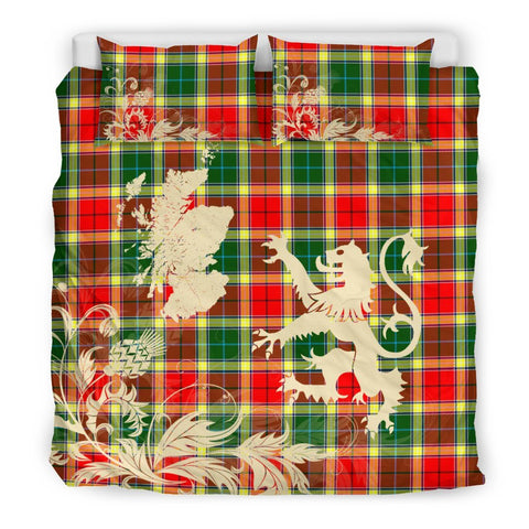 Tartan Gibbs Bedding Set Scotland Lion - Thistle Map