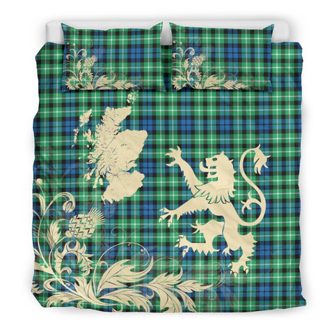 Tartan Graham Of Montrose Ancient Bedding Set Scotland Lion - Thistle Map