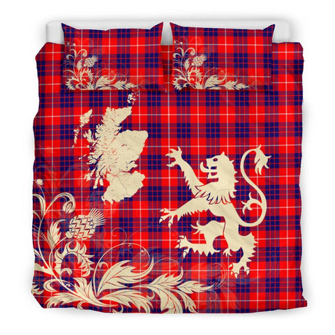 Tartan Hamilton Modern Bedding Set Scotland Lion - Thistle Map