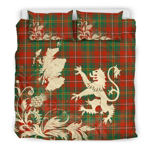 Tartan Hay Ancient Bedding Set Scotland Lion - Thistle Map
