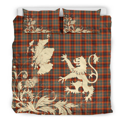 Tartan Innes Ancient Bedding Set Scotland Lion - Thistle Map