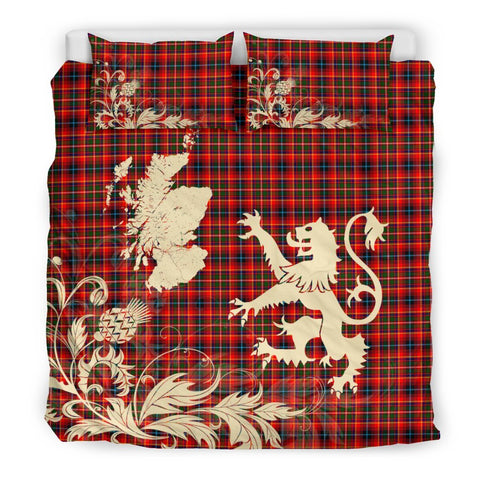 Tartan Innes Modern Bedding Set Scotland Lion - Thistle Map