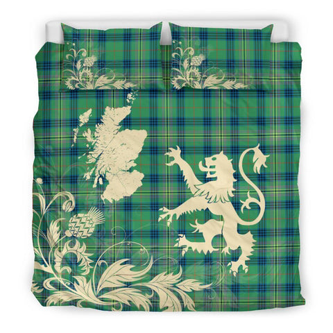 Tartan Kennedy Ancient Bedding Set Scotland Lion - Thistle Map
