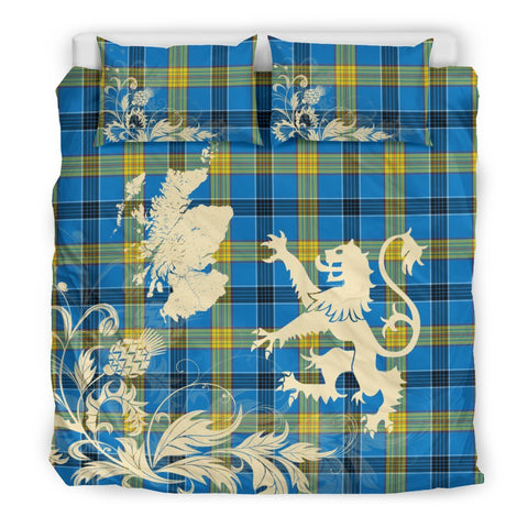 Image of ScottishShopTartan Laing Bedding Set Scotland Lion - Thistle Map