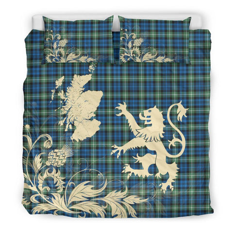 Tartan Lamont Ancient Bedding Set Scotland Lion - Thistle Map