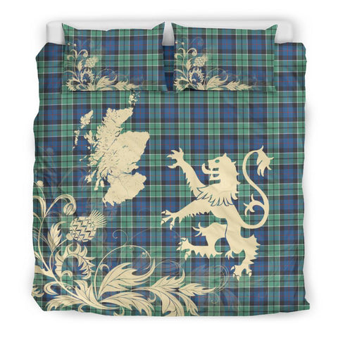 Tartan Leslie Hunting Ancient Bedding Set Scotland Lion - Thistle Map