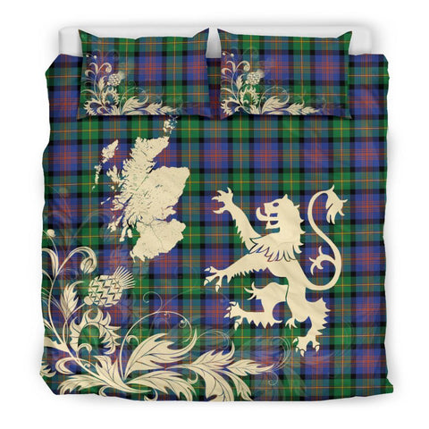 Image of ScottishShopTartan Logan Ancient Bedding Set Scotland Lion - Thistle Map
