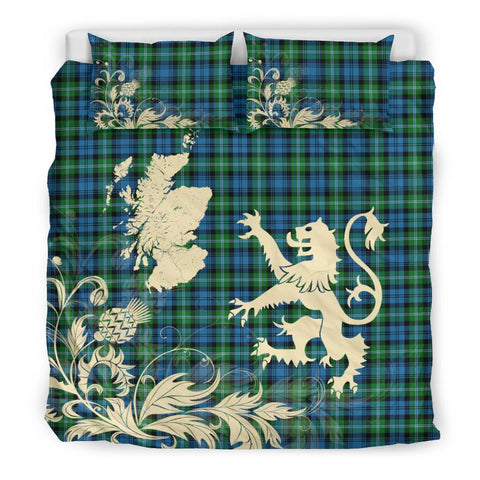 Tartan Lyon Clan Bedding Set Scotland Lion - Thistle Map