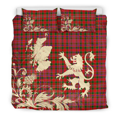 Image of Tartan Macalister Modern Bedding Set Scotland Lion - Thistle Map