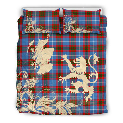 Tartan Pennycook Bedding Set Scotland Lion - Thistle Map