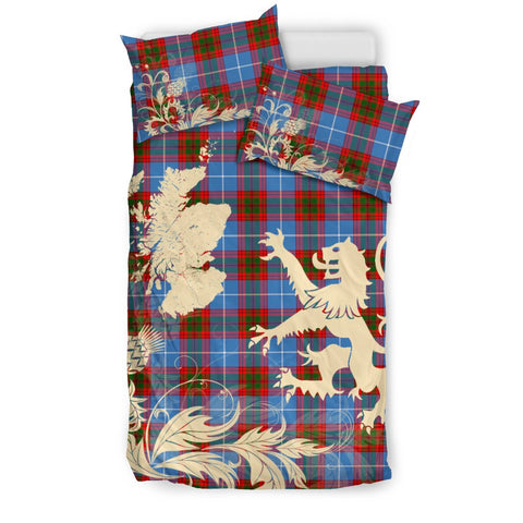 Image of Pennycook Tartan Scotland Lion Thistle Map Bedding Set Hj4