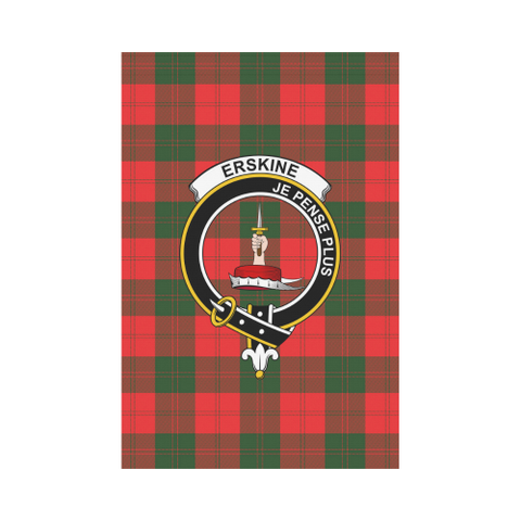 Garden Flag | Tartan Erskine Flag | 2 Sizes Clan Badge