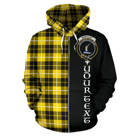 Image of Custom Hoodie - Clan Barclay Dress Modern Plaid Tartan Zip Up Hoodie Design Your Own - Half Of Me Style - Unisex Sizing
