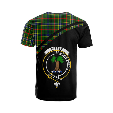 Tartan Shirt - Bisset Clan Tartan Plaid T-Shirt Curve Version Back