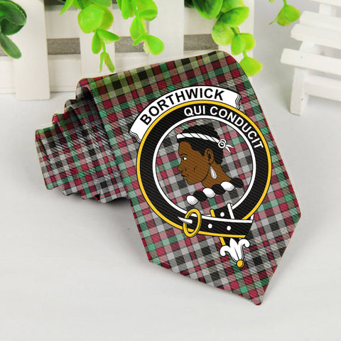 Borthwick Tartan Tie with Clan Crest TH8