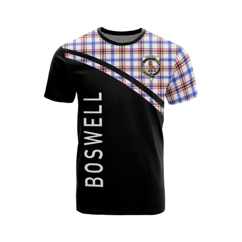 Tartan Shirt - Boswell Clan Tartan Plaid T-Shirt Curve Version Front
