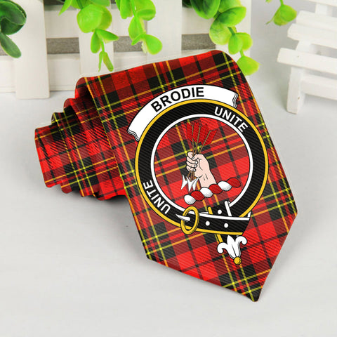 Brodie Modern Tartan Tie with Clan Crest TH8