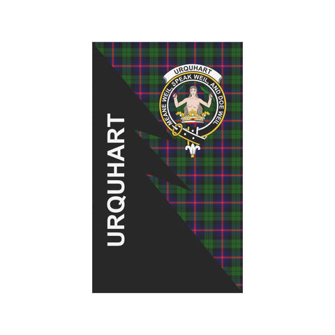 Garden Flag - Clan Urquhart Plaid & Crest Tartan Flag - 3 Sizes - Flash Style