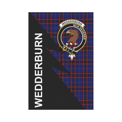 Garden Flag - Clan Wedderburn Plaid & Crest Tartan Flag - 3 Sizes - Flash Style