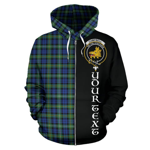 Custom Hoodie - Clan Campbell Argyll Ancient Plaid Tartan Zip Up Hoodie Design Your Own - Half Of Me Style - Unisex Sizing