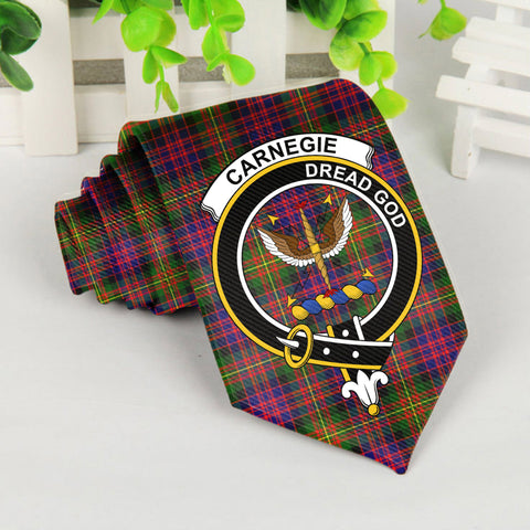 Image of Carnegie Tartan Tie with Clan Crest TH8