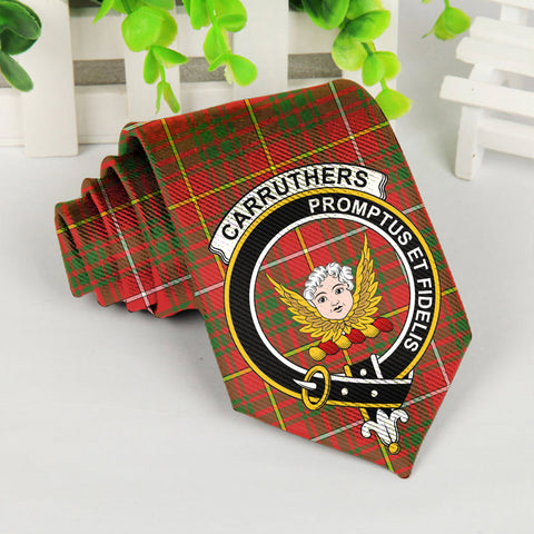 Carruthers Tartan Tie with Clan Crest TH8