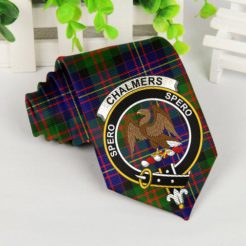 Chalmers Tartan Tie with Clan Crest TH8