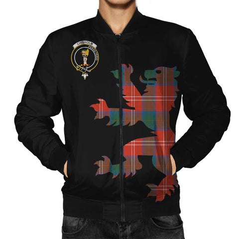 ScottishShop Tartan Bomber Jacket - Chisholm Tartan Lion & Thistle Men Jacket