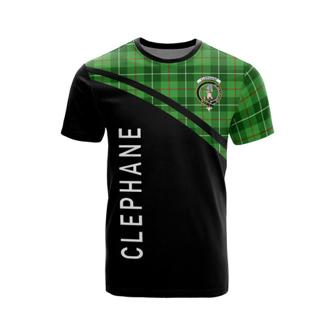 Image of Tartan Shirt - Clephane (or Clephan) Clan Tartan Plaid T-Shirt Curve Version Front