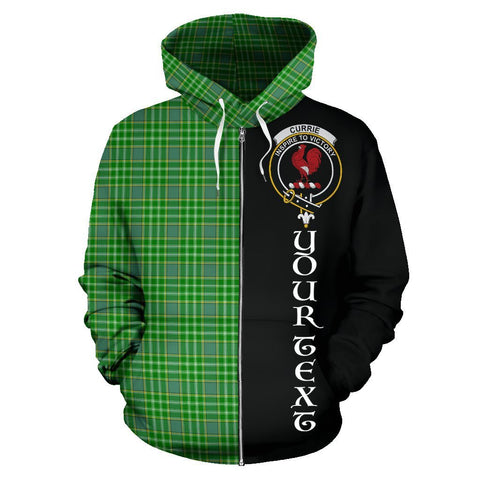 Custom Hoodie - Clan Currie Plaid Tartan Zip Up Hoodie Design Your Own - Half Of Me Style - Unisex Sizing