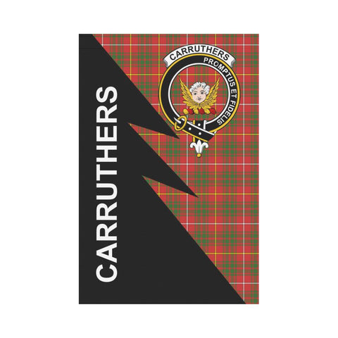 Garden Flag - Clan Carruthers Plaid & Crest Tartan Flag - 3 Sizes - Flash Style