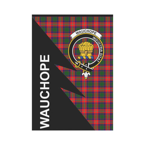 Garden Flag - Clan Wauchope (or Waugh Plaid & Crest Tartan Flag - 3 Sizes - Flash Style