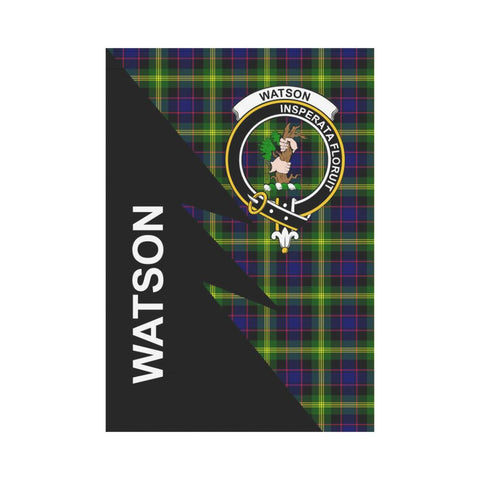 Garden Flag - Clan Watson Plaid & Crest Tartan Flag - 3 Sizes - Flash Style