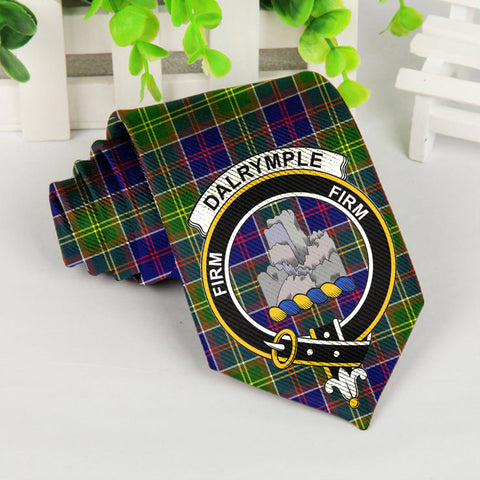 Image of Dalrymple Tartan Tie with Clan Crest TH8