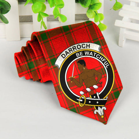 Darroch Tartan Tie with Clan Crest TH8