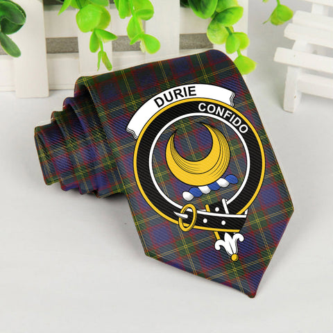 Durie Tartan Tie with Clan Crest TH8