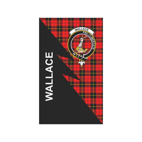 Garden Flag - Clan Wallace Plaid & Crest Tartan Flag - 3 Sizes - Flash Style